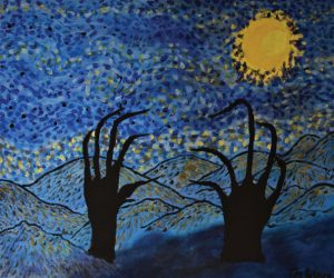 A painting with dark, claw-like hands emerging from an abstract, blue landscape. A yellow moon is in the top right corner.