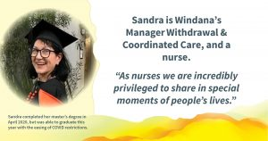 """A photo of a person wearing a graduation hat, smiling. Text reads: Sandra is Windana's Manager Withdrawal & Coordinated Care, and a nurse. """"As nurses we are incredibly privileged to share in special moments of people's lives."""" and """"Sandra completed her master's degree in April 2020, but was able to graduate this year with the easing of COVID restrictions."""""""