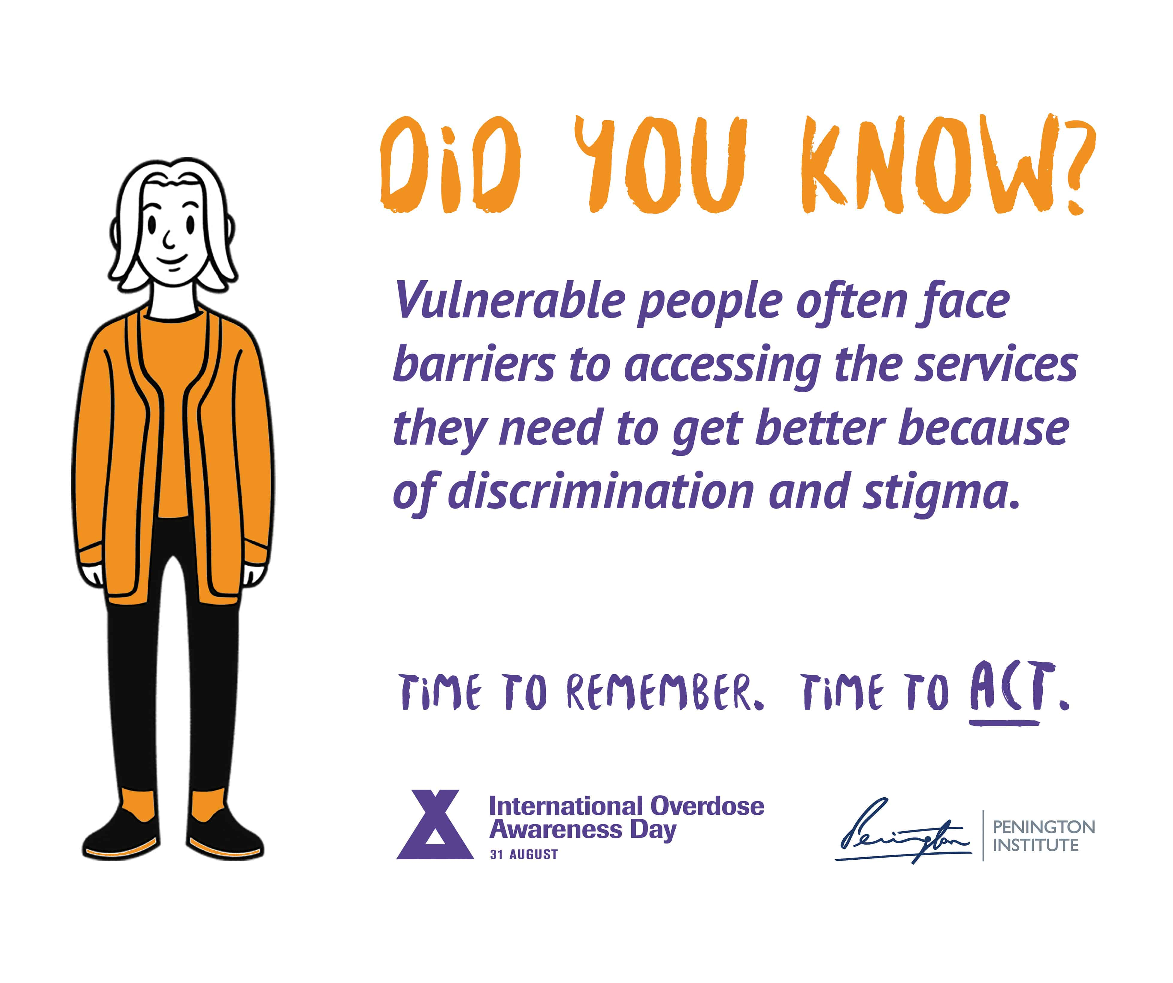 """A graphic from International Overdose Awareness Day and the Penington Institute. Heading reads """"DID YOU KNOW?"""" Text underneath reads: """"Vulnerable people often face barriers to accessing the services they need to get better because of discrimination and stigma. Time to remember. Time to act."""" A drawing of a person in an orange jacket stands alongside."""