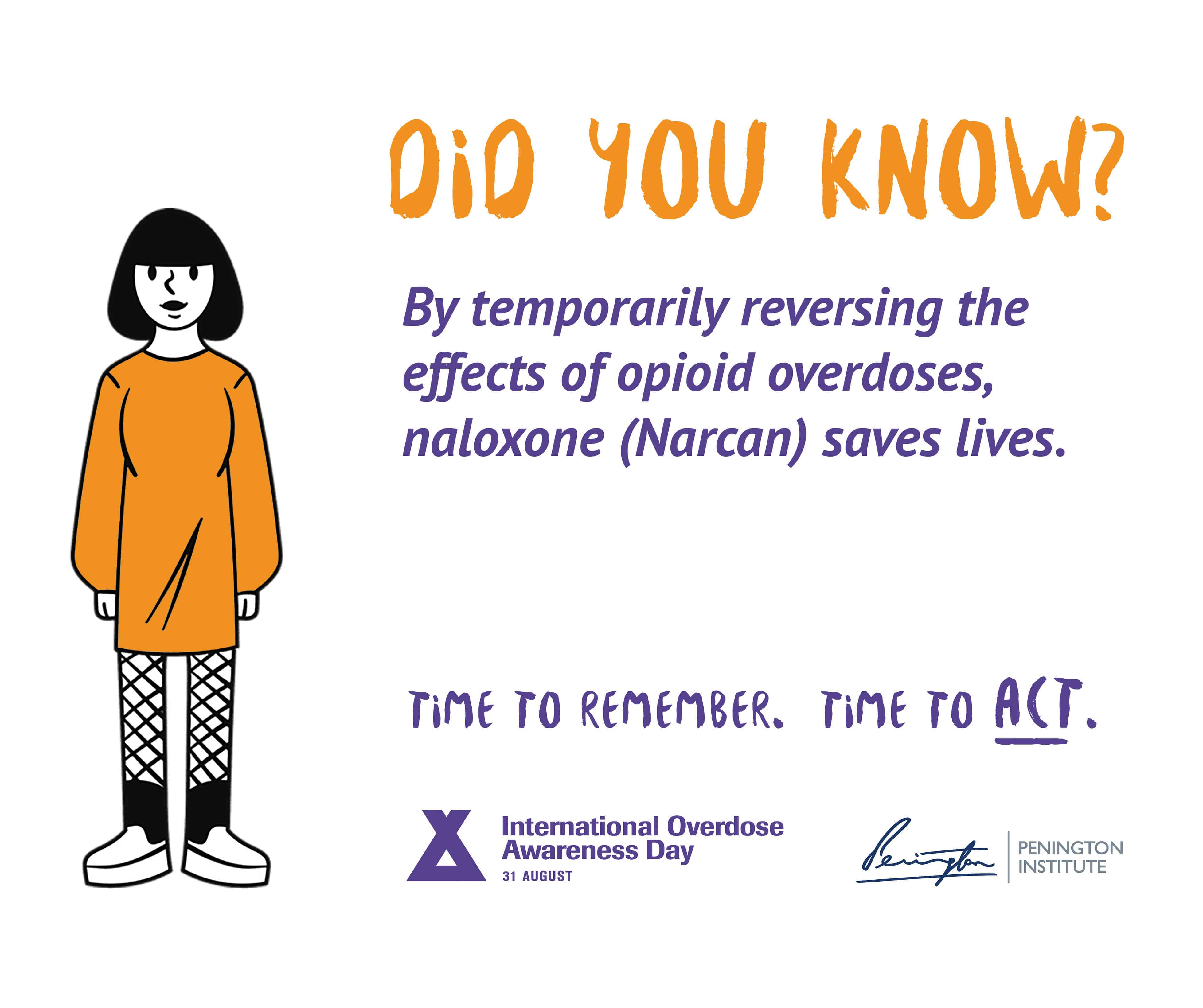 """A graphic from International Overdose Awareness Day and the Penington Institute. Heading reads """"DID YOU KNOW?"""" Text underneath reads: """"By temporarily reversing the effects of opioid overdoses, naloxone (Narcan) saves lives. Time to remember. Time to act."""" A drawing of a person in an orange jumper stands alongside."""